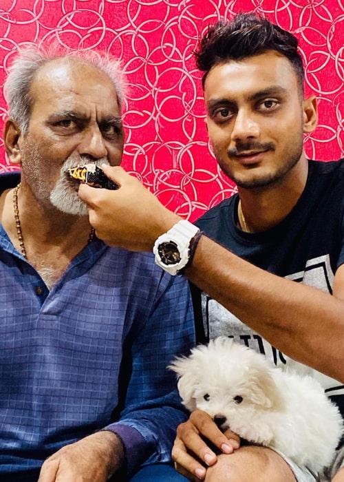 Axar Patel celebrating his father Rajeshbhai Patel's birthday