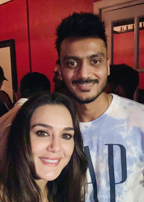 Axar Patel with Bollywood Actress and Kings XI Punjab co-owner Preity Zinta