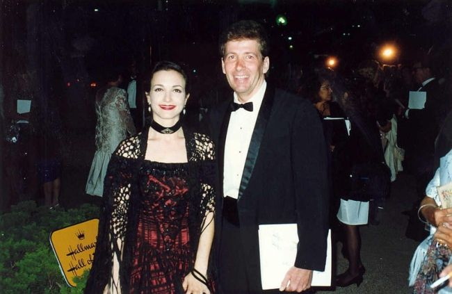 Bebe Neuwirth with Ken Lillig at the Governor's Ball after the 1992 Emmy Awards