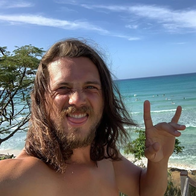 Ben Robson as seen in a selfie taken in by the beach in December 2019