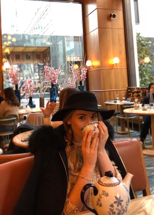 Bethany Lily April as seen while enjoying her tea at Aquavit London in January 2018