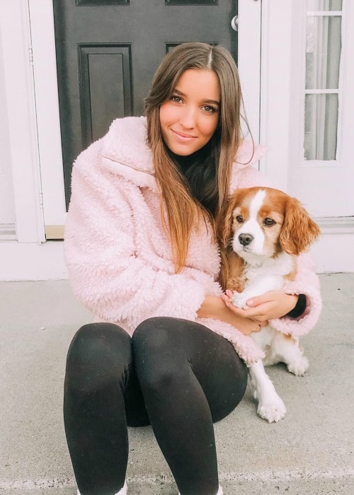 Brooke Didas with her dog as seen in December 2019