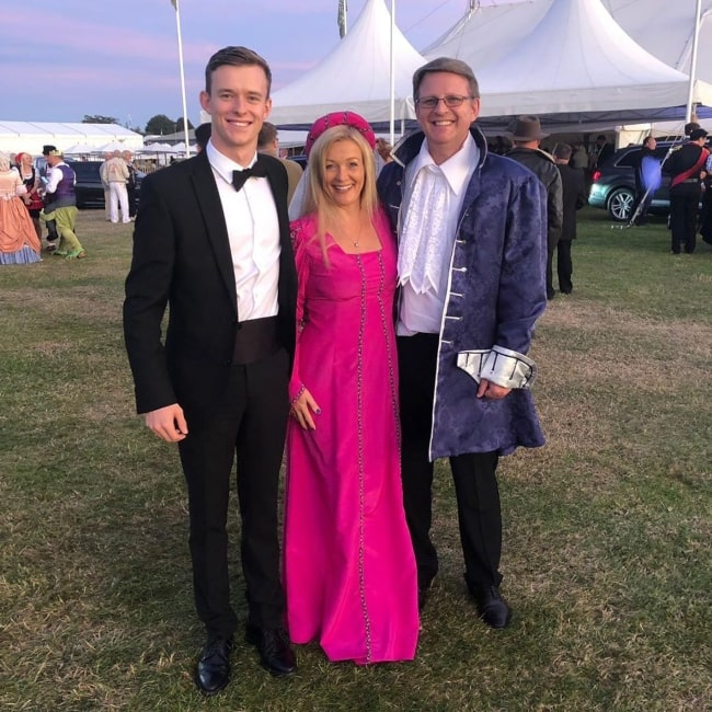 Callum Ilott as seen in a picture taken with his mother and father at the Goodwood Motor Circuit in September 2019 in England