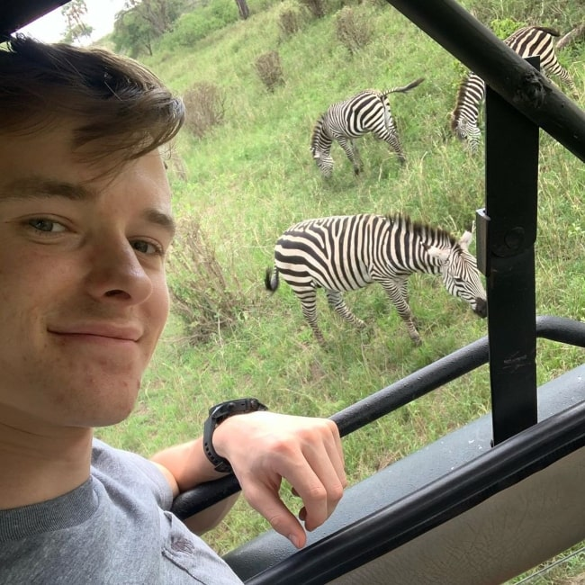 Callum Ilott as seen in a selfie taken at the Tarangire National Park in Tanzania in October 2019