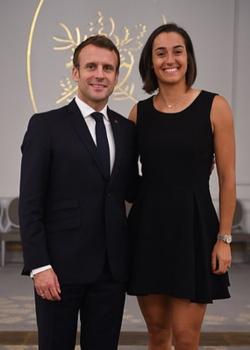 Caroline Garcia with the French President Emmanuel Macron, as seen in November 2019
