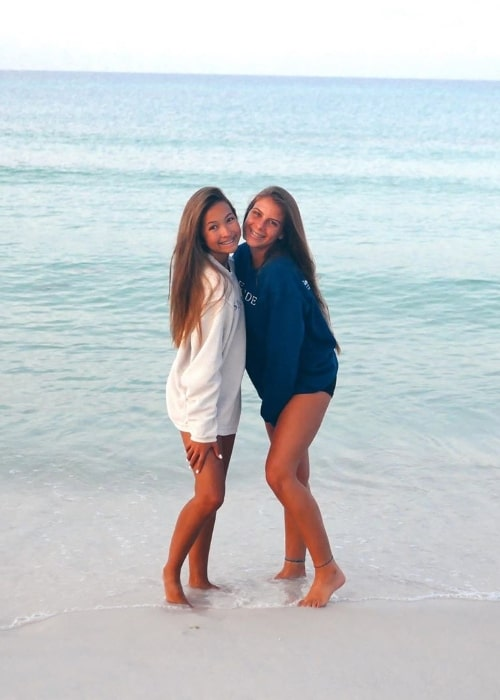 Caroline Manning (Left) in a picture with Alana Bruni while enjoying their time at Seagrove Beach located on the Florida Panhandle, on the Gulf of Mexico, in Walton County, Florida in August 2019