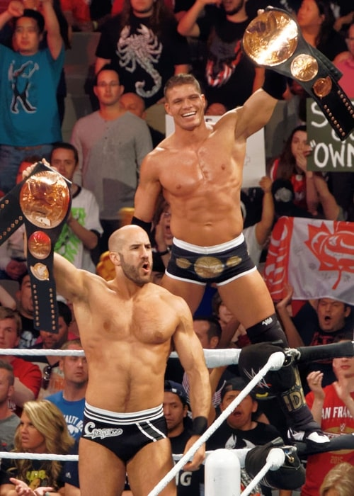 Cesaro and Tyson Kidd as the WWE Tag Team Champions at the WWE Raw television taping on March 30, 2015