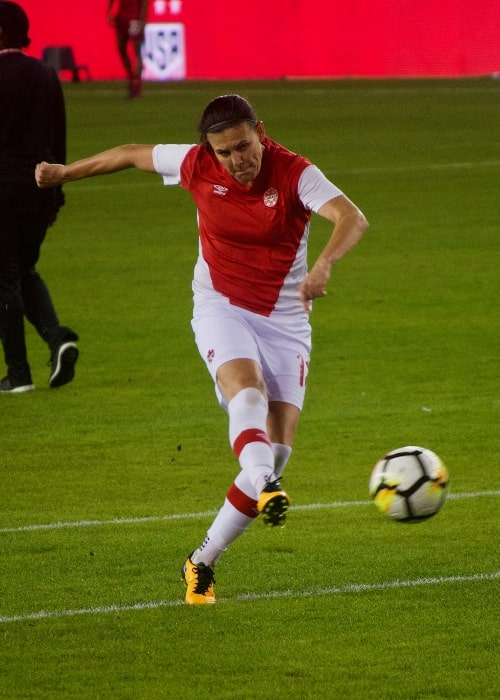 Christine Sinclair as seen in a picture taken while warming up before a game at Avaya Stadium, San Jose, California, on November 12, 2017