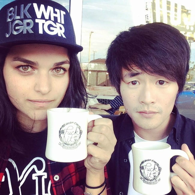 Christopher Larkin and Eve Harlow as seen in April 2017