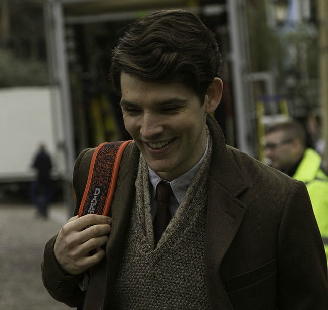 Colin Morgan on the set of Testament of Youth in April 2014