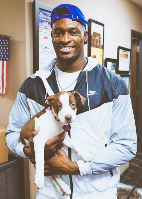DK Metcalf with his pet dog, as seen in January 2018