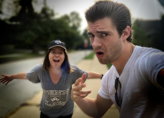 David Corenswet as seen while taking a fun selfie with his sister in Swarthmore, Delaware County, Pennsylvania in September 2018