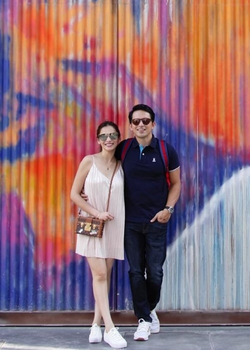 Dennis Trillo as seen while posing for a picture alongside Jennylyn Mercado at La Mer Dubai in May 2019