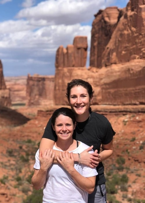 Diana Matheson as seen in a picture taken with former speed skater Anastasia Bucsis at Arches National Park in Utah in October 2019