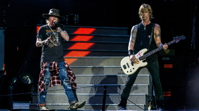 Duff McKagan (Right) as seen while performing along with Axl Rose during the Not in This Lifetime... Tour in 2017