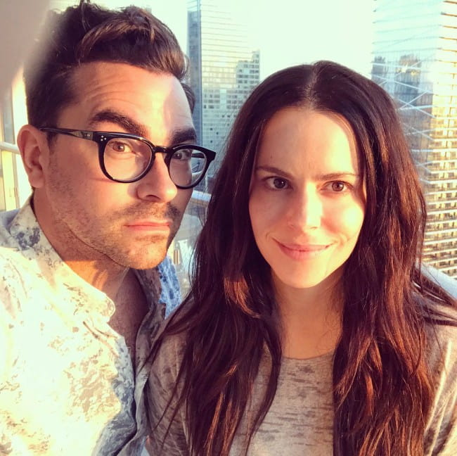 Emily Hampshire and Dan Levy in a selfie in June 2017