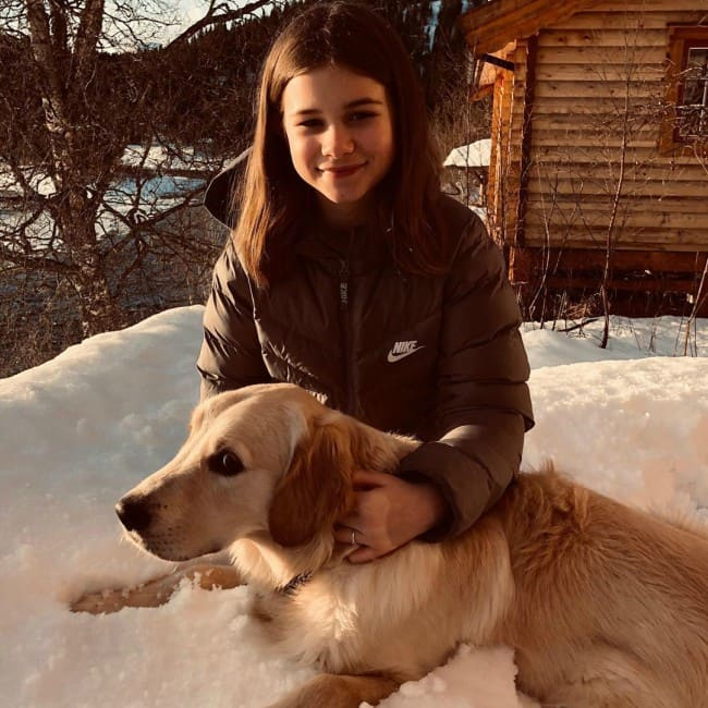 Emma Gunnarsen with her dog as seen in February 2020