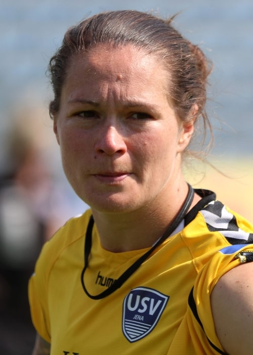 Erin McLeod as seen in a picture taken during a match between FF USV Jena and SC Freiburg at the Frauen-Bundesliga on May 27, 2018