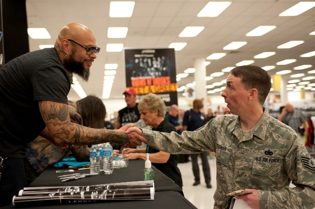 Frank Ferrer (Left) meeting a United States Air Force member in 2014