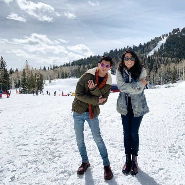 Frankie A. Rodriguez as seen while enjoying the snow and posing for a picture alongside Rebecca Galarza in Park City, Summit County, Utah, United States in April 2019