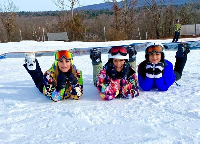 From Left to Right - Amanda Isabel, Brittany Hertz, and Miranda Dell'Olio as seen while posing for a picture at Hunter Mountain in Greene County, New York in December 2019