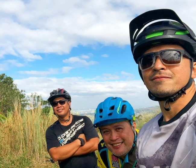 From Left to Right - Michael Sanvictores, William Erwin Benipayo, and Dennis Trillo as seen in a selfie taken at Antenna Hill in Binangonan, Rizal, Philippines in 2019