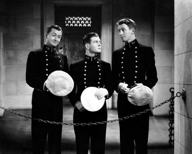 From Left to Right - Robert Young, Tom Brown, and James Stewart as seen in the American drama-sport film 'Navy Blue and Gold'