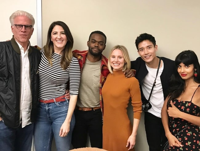 From Left to Right - Ted Danson, D'Arcy Carden, William Jackson Harper, Kristen Bell, Manny Jacinto, and Jameela Jamil in March 2019