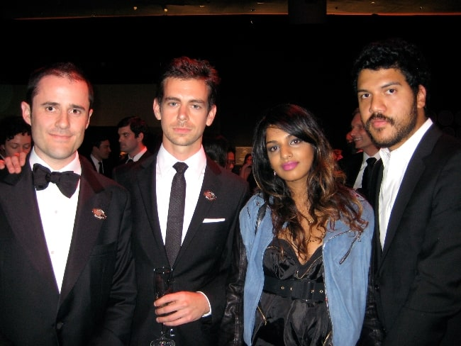 From Left to Right - Twitter-founders Evan Williams and Jack Dorsey, M.I.A., and Benjamin Bronfman