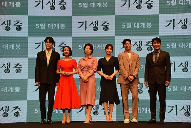 (From left to right) Actors Choi Woo-shik, Cho Yeo-jeong, Lee Jung-eun, Park So-dam, Lee Sun-kyun, and Song Kang ho from the 2019 movie Parasite