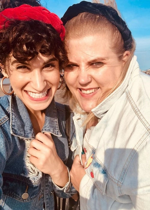 GlitterAndLazers (Right) as seen while smiling in a selfie along with Samantha Rosalie at Coney Island in Brooklyn, New York in September 2019
