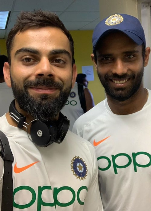 Hanuma Vihari with Indian cricketer Virat Kohli, as seen in September 2019