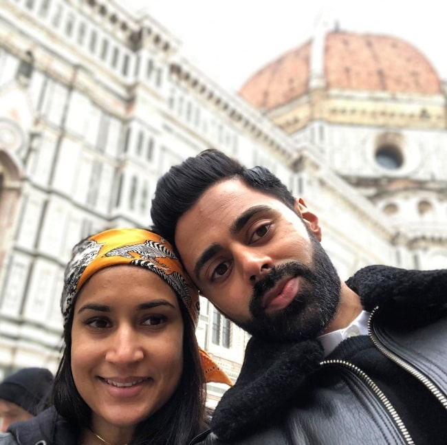 Hasan Minhaj in a selfie with his wife Beena Patel