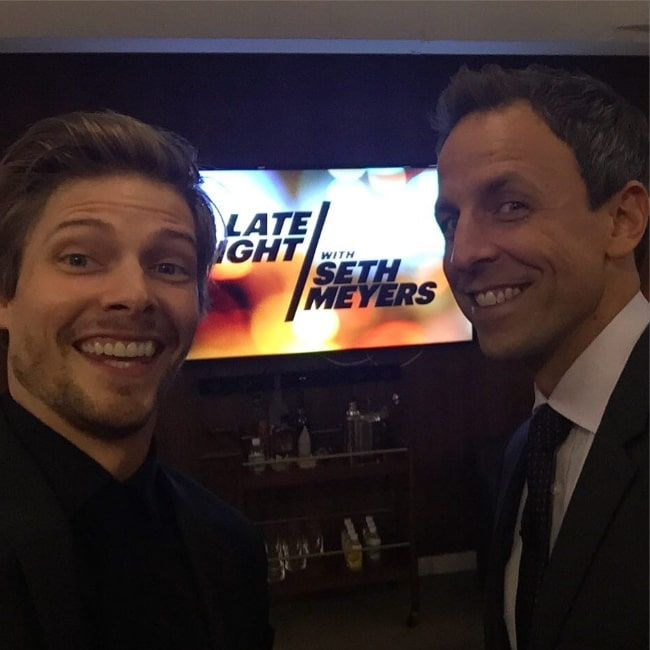 Hunter Parrish (Left) as seen in a picture along with Seth Meyers in November 2015