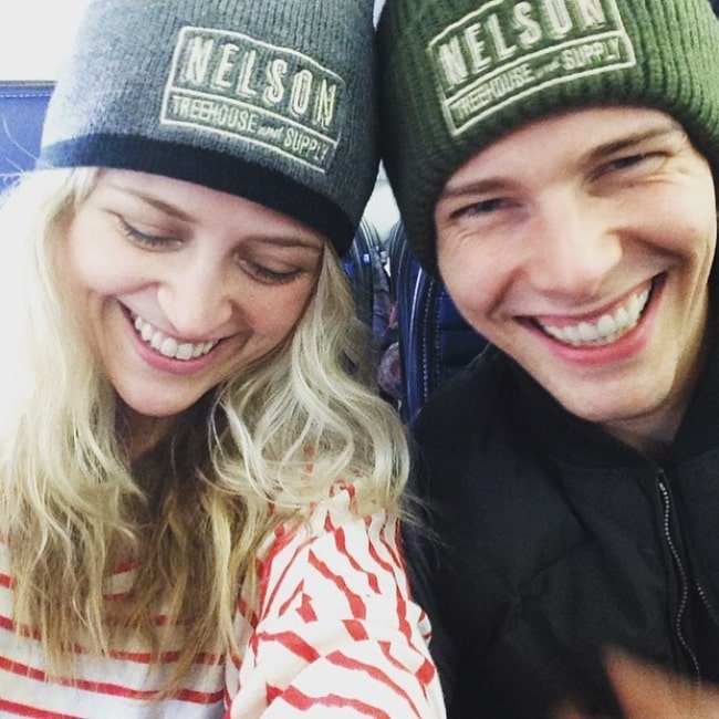 Hunter Parrish as seen while smiling in a picture alongside his wife, Kathryn, in January 2016