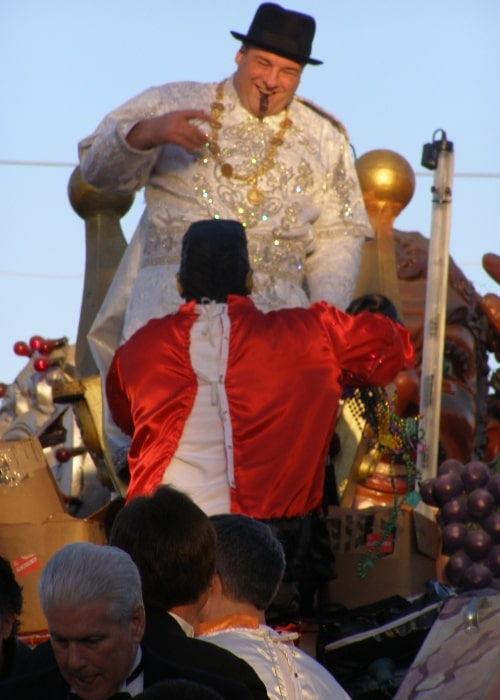 James Gandolfini on New Orleans Mardi Gras float to reign as Bacchus XXXIX in February 2007