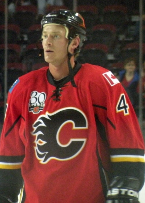 Jay Bouwmeester seen during warmup prior to a National Hockey League exhibition game between the Calgary Flames and New York Islanders in September 2009 in Calgary