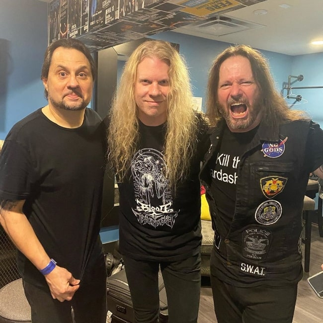 Jeff Loomis as seen while posing for a picture along with Dave Lombardo (Left) and Gary Holt (Right) in Anaheim, California, United States in January 2020