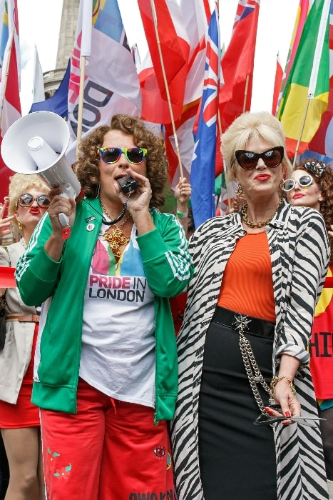 Jennifer Saunders (Left) and Joanna Lumley in character as Edina Monsoon and Patsy Stone from 'Absolutely Fabulous' at Pride in London, England in 2016