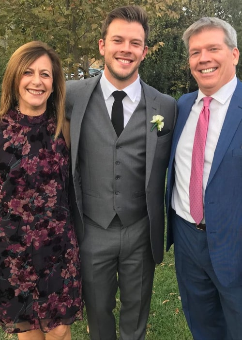 Jimmy Tatro with his Parents, as seen in November 2019