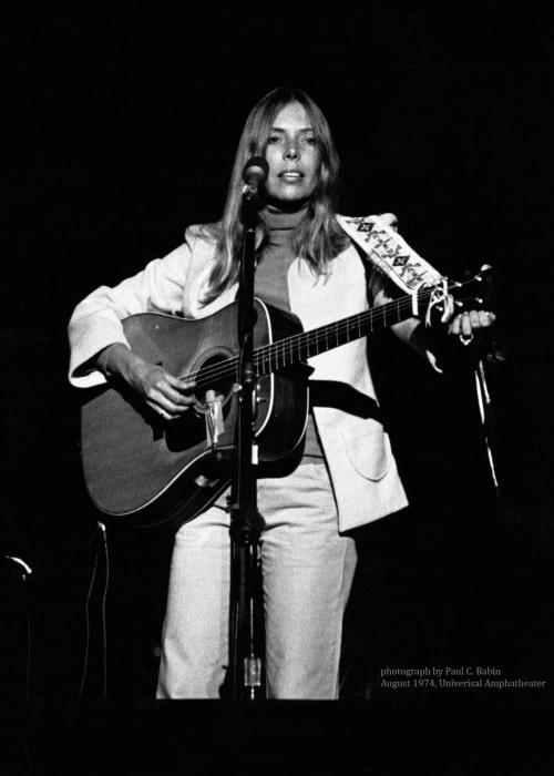 Joni Mitchell as seen in a picture taken in August 1974 by Paul C Babin