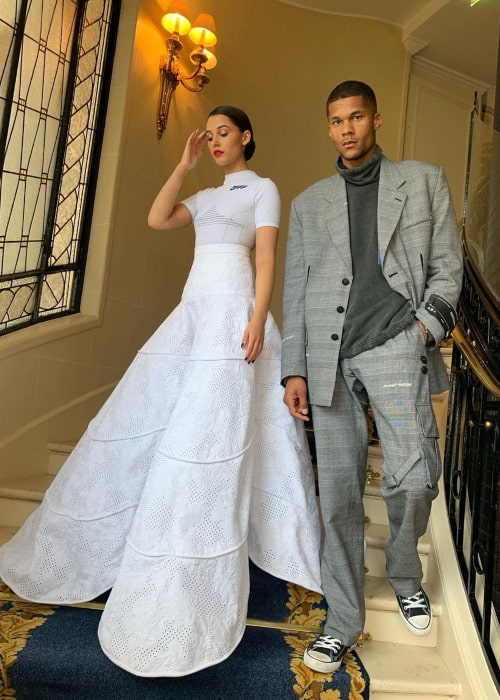 Jordan Spence with his wife Naomi Scott in Paris, in May 2019