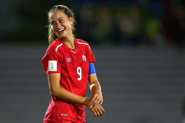 Jordyn Huitema during an International appearance for Canada in January 2019