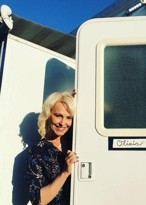 Josie Bissett as seen in a picture taken infront of her onset trailer in Langley, British Columbia in June 2017