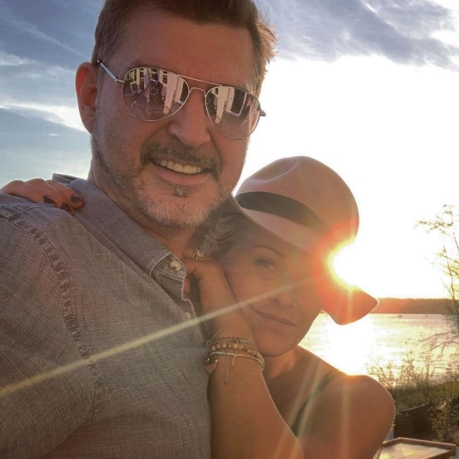 Josie Bissett as seen in a selfie with her husband Thomas Doig in Sammamish, Washington in May 2019