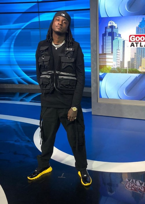 K Camp on the sets of a TV News show in February 2020