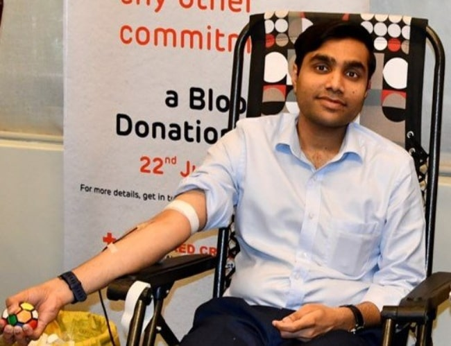 Karan Adani as seen while donating blood at a blood donation drive organized by Adani Foundation in June 2018