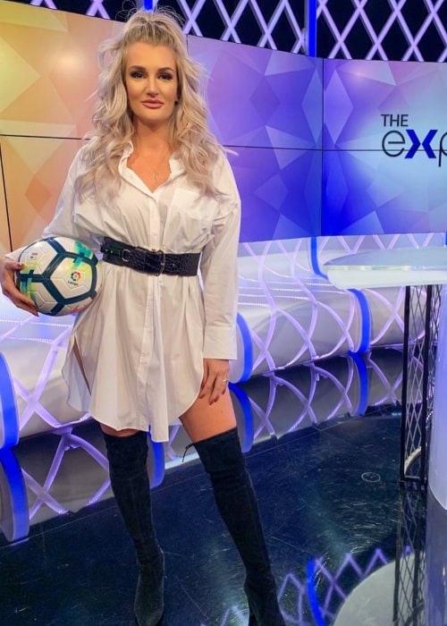Kaylyn Kyle at the sets of a Soccer Broadcasting Show in February 2020