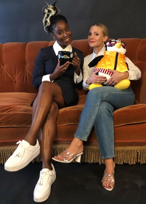 Kirby Howell-Baptiste (Left) as seen while posing for a picture alongside her 'The Good Place' co-actress, Kristen Bell, at San Diego Comic-Con in San Diego, California in July 2019