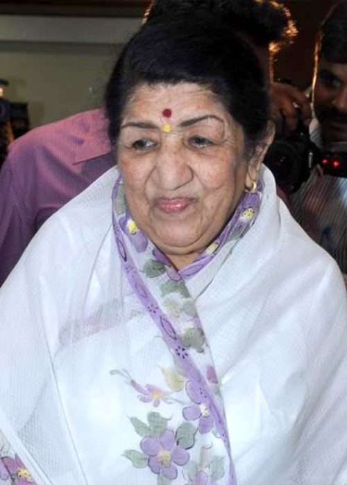 Lata Mangeshkar smiling during the announcement of the Master Dinanath Mangeshkar Awards 2013 winners